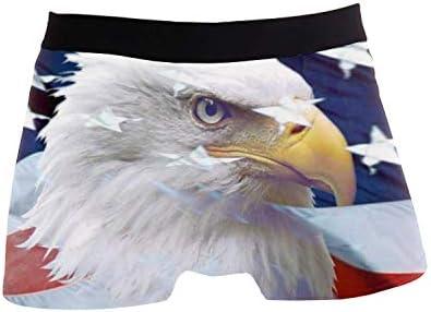 Calzoncillos Blandos para Hombre Patriótico American Bald Eagle Impreso Tronco Stretch Ropa Interior Calzoncillos Transpirables XL