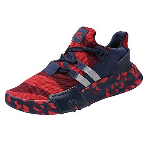 Dorical Laufschuhe Herren Sneakers Sportschuhe Joggingschuhe Turnschuhe Wanderschuhe Freizeitschuhe Air Casual Straßenlaufschuhe rutschfest Bequem Trainers Running Leichte Schuhe(Rot,44 EU)