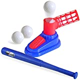 Tee Ball Set for Kids,Baseball Pitching Machine with 1 Step-On Baseball Pitch Toy,1 Stretchable Baseball Bat,and 3 Baseball Plastic Balls,for Toddler Outdoor Toys