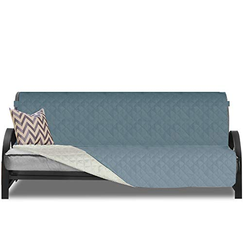 Sofa Shield Original Patent Pending Reversible Futon Protector, Many Colors, Seat Width to 70 Inch, Furniture Slipcover, 2 Inch Strap, Daybed Couch Slip Cover Throw for Pets, Kids, Dogs, Seafoam Cream