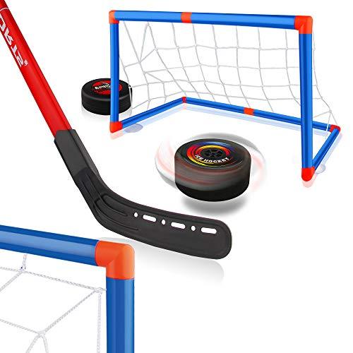 Baztoy Hover Hockey Set, Hockeyspiel Kinderspielzeug mit 2 Toren und 2 Hockeysticks, Air Power Eishockeyball für 3 4 5 6 7 8 9 Jahre alte Kinder Jungen Mädchen