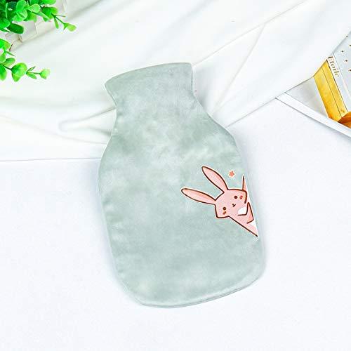 Tragbare, Mit Wasser Gefüllte Wärmflasche Im Winter Niedliche, Mit Cartoon Bedruckte Kaninchen-Handwärmer-Warmwasserbeutel Frischgrün 500 ML Geschenke Für Frauen
