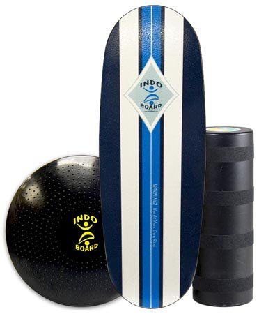 """INDO BOARD Pro Balance Board Training Package - Surf Classic Design - Fitness Training, Boardsports Training - 42"""" X 15"""" Deck, 8.5"""" Diameter Pro Roller and 24' Gigante' Cushion"""