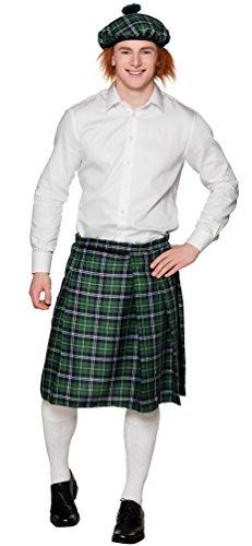 Karneval-Klamotten Disfraz de falda escocesa verde a cuadros para hombre, disfraz de carnaval, talla única