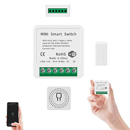 QUANXI Interruptor de relé inteligente, 10A,Ac 100-240v 50 / 60hz,Blanco,Mini 1 Gang DIY Módulo de interruptor de luz inteligente Wifi,No requiere concentrador,Compatible con Alexa y Google Home