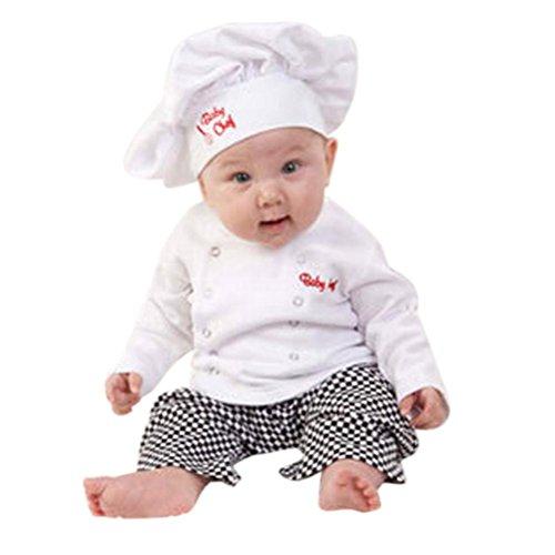 Tonsee® Bébé garçons Chef T-Shirt Tops + Pantalon Casquette vêtements Ensemble Chef Cosplay Costumes (90(12 Mois), Blanc)