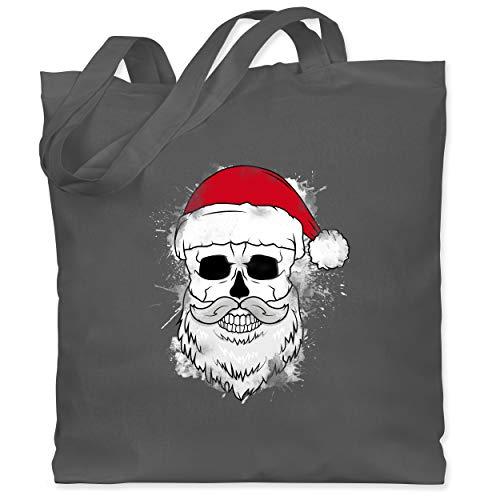 Weihnachten & Silvester - Totenkopf mit Weihnachtsmütze und Bart - Unisize - Dunkelgrau - Silvester - WM101 - Stoffbeutel aus Baumwolle Jutebeutel lange Henkel