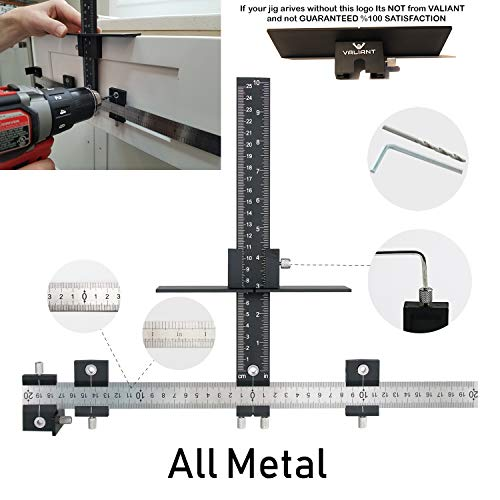 VALIANT Cabinet Hardware Jig   Drawer Knobs and Pulls Template Tool for Drilling Holes on Wood   Adjustable Drill Guide Tools for Doweling, Boring and Mounting Door Handles (All Aluminum)