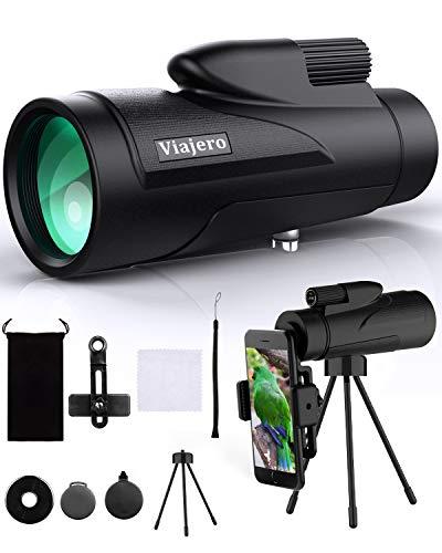Viajero 12X50 Monocular Telescope, High Power Monocular with Smartphone Holder & Tripod, Waterproof Zoom Telescope, BAK4 Prism Dual Focus for Hunting Bird Watching