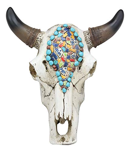 "Ebros 9"" Wide Western Southwest Steer Bison Buffalo Bull Cow Horned Skull Head Mural Mosaic Beads Design Wall Mount Decor Native Indian Animal Totem Bust Skulls"