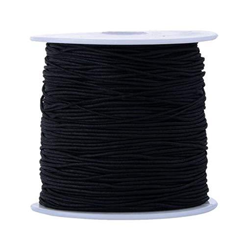 Lomelomme 180 Meter Gummiband Mehrere Farben Elastic Band Gummilitze Wäscheband Gummizug, 3mm 5mm (Schwarz, 1.5mm, 40M)