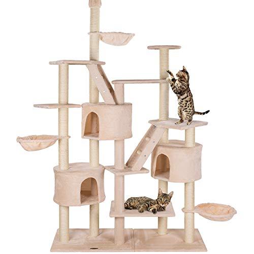 happypet® Kratzbaum für Katzen deckenhoch höhenverstellbar 240 - 260 cm hoch, CAT013, großer Kletterbaum Katzenbaum für mehrere Katzen geeignet, stabile Säulen mit Sisal ca. 8,5 cm Durchmesser inkl. Häuser Liegemulden Treppen BEIGE