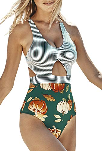 CUPSHE Women's Green Stripe Cutout Pumpkin One Piece Swimsuit, S