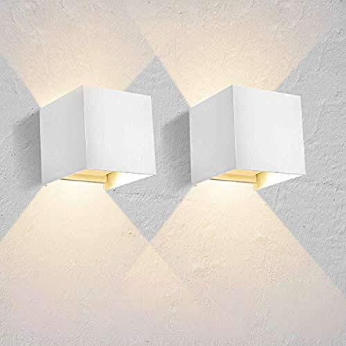 Lightess 2 Piezas Apliques de Pared LED 12W Lámpara de Pared Exterior Impermeable IP65 Luz Moderna Ángulo Ajustable 120 Grados Iluminación para Escalera Patio Interior (blanco cálido, blanco)