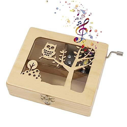 Heveer Caja de Música de Manivela de Madera Caja Musical Caja de Maquillaje Joyería Tallada a Mano del Tema Retro Mejor Regalo para Niños Niñas, Patrón de Búho