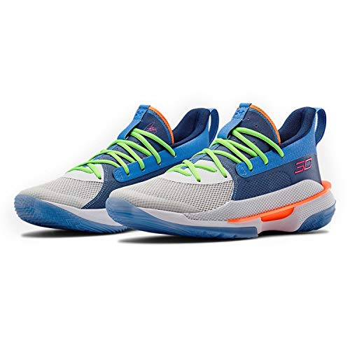 Under Armour Men's Curry 7 Basketball Shoe (Water/White, Numeric_11)