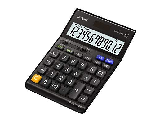 CASIO Tischrechner DF-120TERII, 12-stellig, Steuerberechnung, Gesamtsummen-Speicher, Solar-/Batteriebetrieb