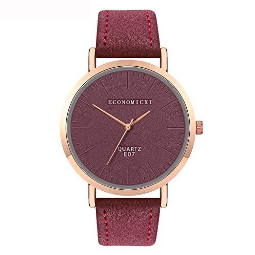 jieGorge ✔ Modische Damen-Armbanduhr mit Lederband, analog, rund, Quarz, kompakte Uhr für Sie jetzt (dunkelrot).