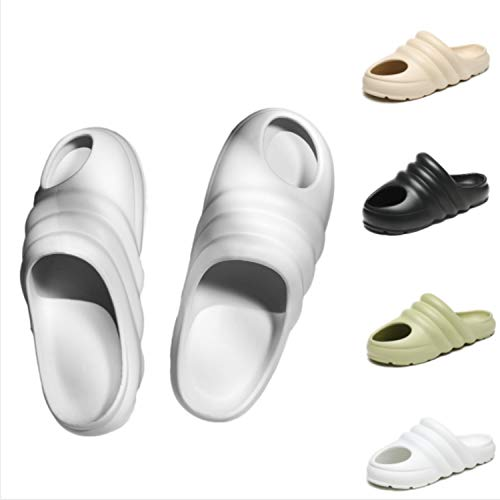 VNMG 2021 New Thickened Non-Slip Sandals Summer, Trendy Men Outdoor Beach Casual Hole Slippers Summer, Personalized Baotou Design Large Size (46,White)