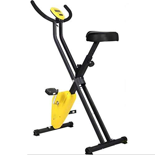 PHASFBJ Bicicleta Estática Electromagnética, Bicicleta Estática Plegable, Resistencia Ajustable, Bicicleta Estática para Interiores Compacta Y Flexible,Amarillo