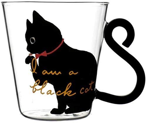 Tasse Tasse Kaffee Geschenk Kreative 8,5 Unzen Wasser Glas Tasse Tasse süße Katze Milch Kaffee Tasse Tee Tasse Cartoon Kitty Home Office Tasse für Fruchtsaft,Schwarze Katze,201 300 ml