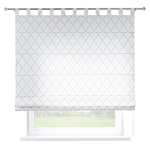 Dekoria Raffrollo Verona ohne Bohren Blickdicht Faltvorhang Raffgardine Wohnzimmer Schlafzimmer Kinderzimmer 130 × 170 cm weiß Raffrollos auf Maß maßanfertigung möglich