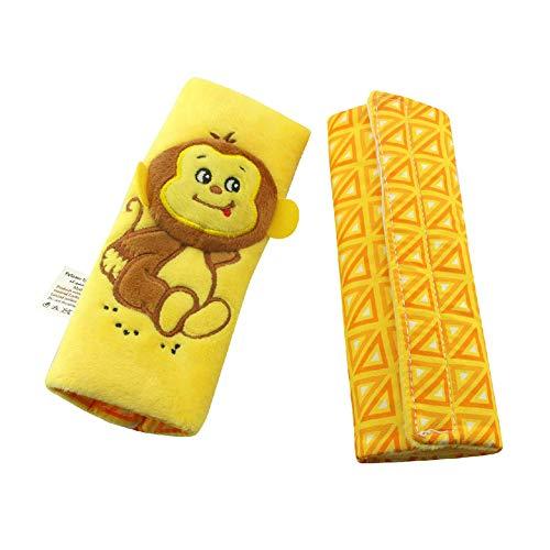 Coussin bébé voiture Ceinture de sécurité Dragonne Ceinture de couverture de tout-petits tapis de protection avec velcro Cartoon animal (jaune)