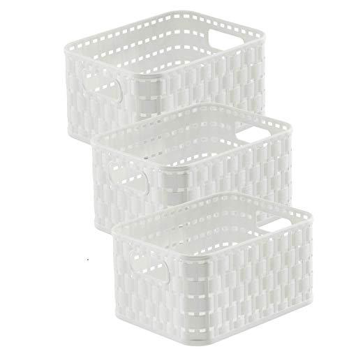 Rotho Country Set di 3 scatole di stoccaggio 2l in Rattan-Look, Plastica PP Senza BPA, Bianco, 3 x A6/2l 18.3 x 13.7 x 19.8 cm