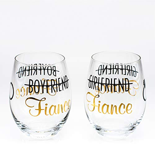 Greenline Goods – Toasting Glasses for Bride and Groom (Set of Two)| Stemless Wine Glasses | Engagement Bachlorette Gifts for Bride