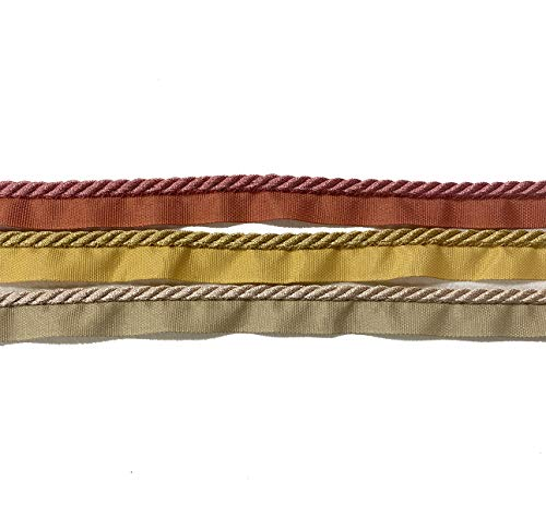 Flanged Piping Cord - Twisted Cushion Piping - Decorative Upholstery Trim - Available in 3 Colours (Dusky Pink)
