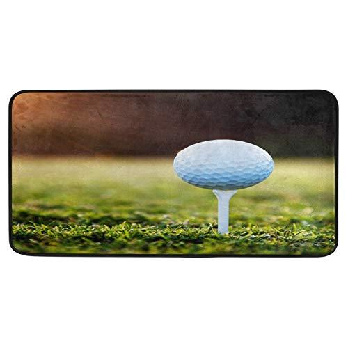 Felpudo grande con bola de golf para puerta de cristal de puesta de sol, para interiores, antideslizante, absorbente, para niños, para exterior, lavable, para cocina, dormitorio, 99 x 51 cm