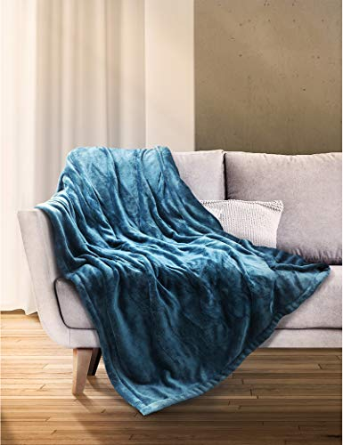"""Sable Heated Blanket Electric Throw, 50"""" x 60"""" Full Body Size Fast Heating Blankets Flannel, 10 Heating Levels 3 Hours Auto-Off ETL Certified Machine Washable (Blue) (SA-BD038)"""