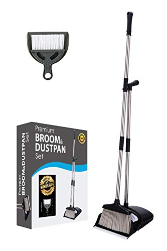 Broom and Dustpan Set, Long Handle for Home, Kitchen Room Office Lobby Floor, Indoor, Upright Stand up, Mini Broom dust pan Combo Included for Home or Auto use