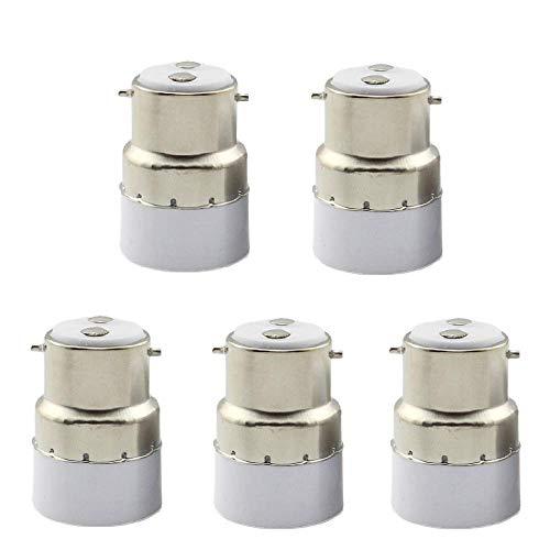 Packung mit 5 Glühlampen-Sockelkonvertern B22 zu E14-Sockel-Sockel B22 Upgrade auf E14-Standardadapter-Lampenfassung