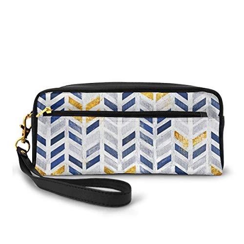 Yuanmeiju Herringbone Pattern Indigo Gold Canvas Cosmetic Bag Portable Students Pencil Case for Girls Women Handbag Purse Make Up Pouch