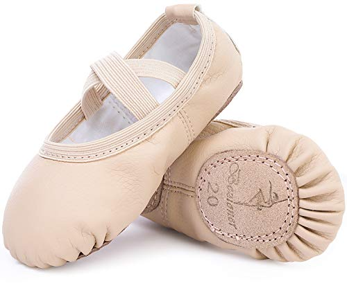 Ballet Shoes Leather Ballet Flats Split Sole Dance Slippers for Girls Toddlers Women Beige 8 UK Child (25 EU)