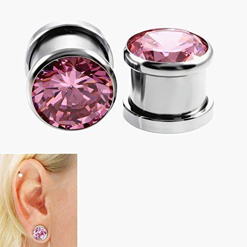 Xpircn 6G-00G Stainless Steel Cubic Zirconia Screw Tu   nnels Ear Stretcher Plugs Piercing Gauges