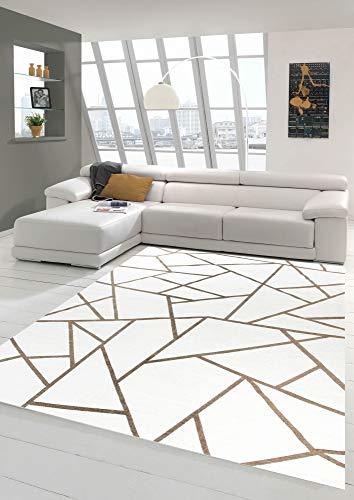 Merinos Orientteppich Wohnzimmer Teppich Geometrisches Muster in Creme Gold Größe 120x170 cm