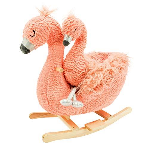 Soft Landing , Darling Duos, 2-Piece Plush & Joyride Character Rocker Bundle, Flamingo (Sleigh Rocker)