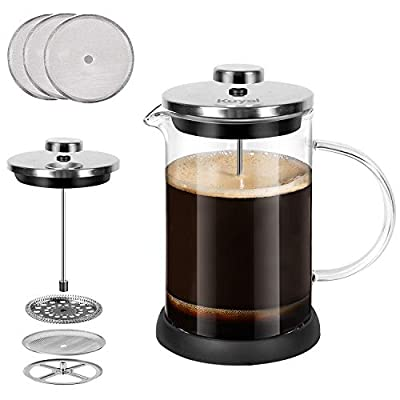 Glass French Press Coffee Tea Maker 20 oz, 600 ml Stainless Steel Coffee Press with 3 Extra Filter Screens, Double Wall Heat Resistant Borosilicate Glass