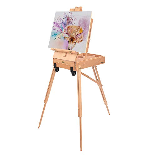 ShowMaven French Style Wheeled Wooden Art Easel with Sketch Box,Portable Travel Drawing Artist Tripod w/Storage Drawer Case,Triangular Floor Stand,Collapsible Folding Outdoor,Oil Painting Painters