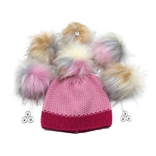 Furryvalley Pompon de pelo sintético con botón de presión 6 pelotas para gorro de punto zapatos bufandas extraíbles ganchillo decoración accesorios 16cm extra grande (multicolor)