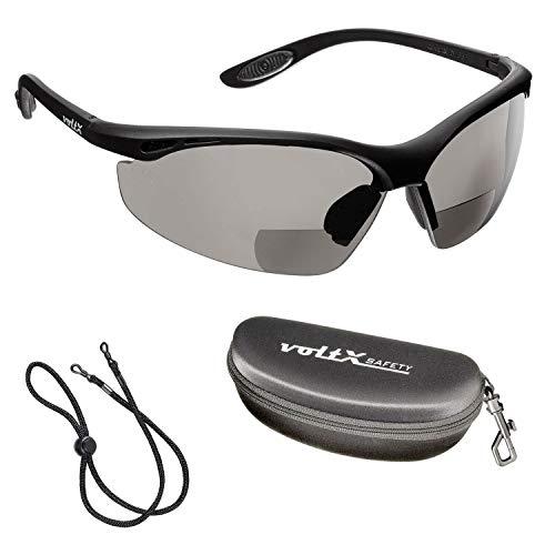 voltX 'CONSTRUCTOR' (AHUMADO/GRIS dioptría +2.0) Gafas de Seguridad de Lectura BIFOCALES que cumplen con la certificación CE EN166F / Gafas para Ciclismo incluye cuerda de seguridad + estuche de seguridad rígido con bisagras - Reading Safety Glasses