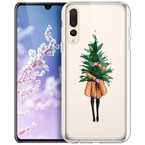 Kompatibel mit Huawei P20 Pro Hülle,Durchsichtig mit Xmas Christmas Snowflake Weißen Weihnachten Schneeflocke Hirsch Klar TPU Silikon Handy tasche Case Handyhülle Schutzhülle,Mädchen Weihnachtsbaum