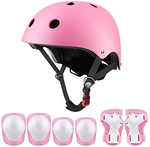 Set di protezioni sportive per bambini, casco da ciclismo regolabile per bambini con ginocchiere, gomitiere, protezioni per i polsi, casco da skateboard per ragazzi per 3~10 anni (Rosa)