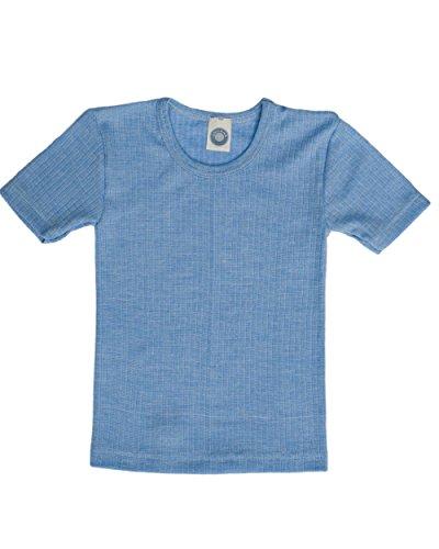 Cosilana, Kinder Unterhemd Kurzarm, 45% KBA Baumwolle, 35% kbT Wolle, 20% Seide (116, Blau meliert)