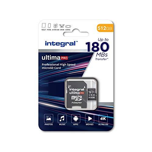 Integral 512 GB Micro-SD-Karte, 4K-Video-Lesegeschwindigkeit 180 MB/s und Schreibgeschwindigkeit 150 MB/s MicroSDXC V30 U3 180-V30 Unsere schnellste Hochgeschwindigkeits-Micro-SD-Speicherkarte