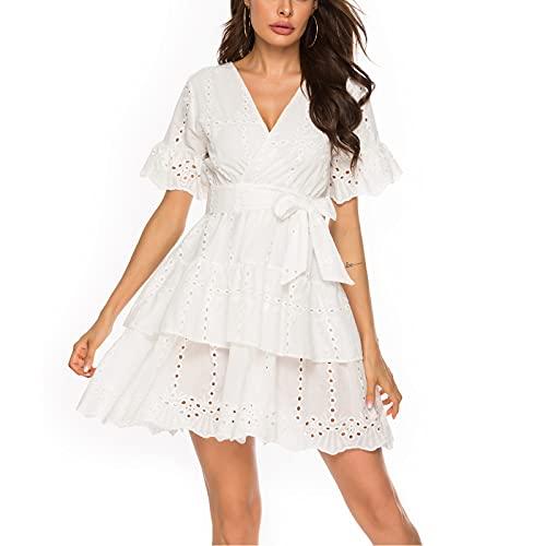 URIBAKY - Vestido bordado para mujer, de manga corta, informal, cuello en V de playa, mini vestido blanco XL