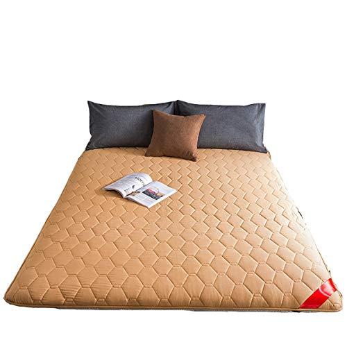 FDesign Japanese Traditional Shiki Futon, 6cm Thick washable Futon Mattresses Foldable Durable Soft Mattress Topper Tatami Foldable Cushion Mats,Yoga,camel,90 * 200cm