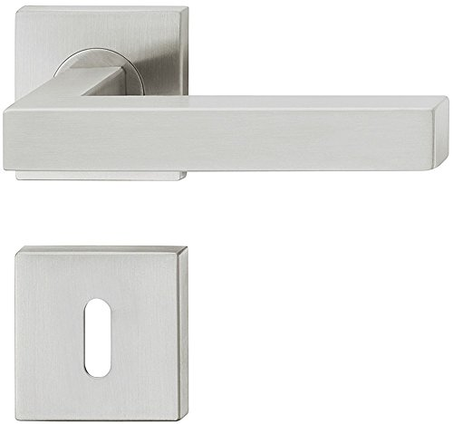 JUVA Design Drückergarnitur Edelstahl Türbeschlag eckig Türgriff auf Rosette für Innentüren - LDH 2166 | BB - Buntbart | Edelstahl matt gebürstet | 1 - Zimmertür-Garnitur inkl. Befestigungsmaterial
